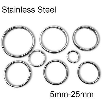 Stainless Steel Split Key Ring Keychain Jump Rings Round Wire Keyfob 5-25mm DIY