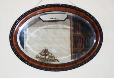 Antique Flamed Mahogany Oval Mirror - FREE Shipping [PL4777]