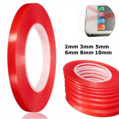 2-10mm Red 50M Adhesive Double Sided Tape Strong Sticky Tape For Mobile Phone 1x