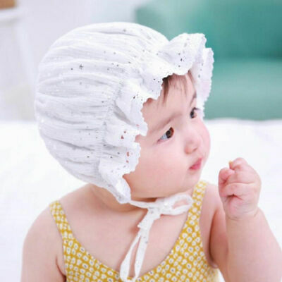 031ef344d3e Newborn Infant Christening Bonnet Beach Bucket Hat Baby Girl Sun Summer Cap  Lace