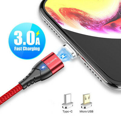 FLOVEME 3A Magnetic Braid Micro USB/Type C Fast Charging Charger Data Sync Cable