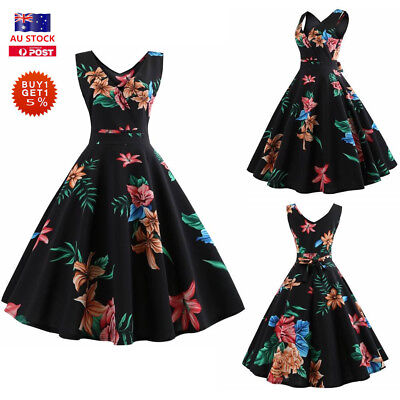 Women Floral Sleeveless Swing Dress 60 50s Vintage Cocktail Evening Party Skater