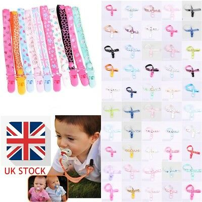 New Dummy Clip Baby Girls Soother Clips Chain Holder Pacifier Strap Many Designs