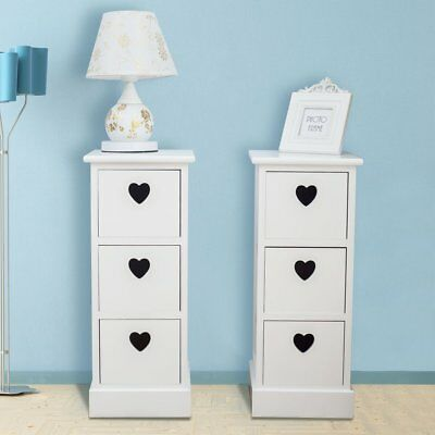 2 Pcs Storage Chest Cabinets 3 Drawers Table Storage Cupboard Home Livingroom