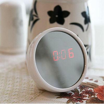 Round Digital LED Mirror Alarm Clock Table Time Bedside Clock Battery Operated