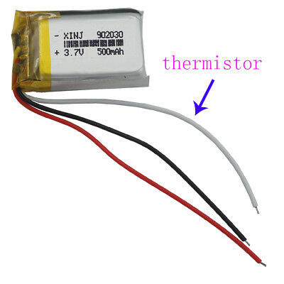 3.7V 500 mAh 3 wires thermistor Polymer Li po Battery For GPS Camera MP3 902030