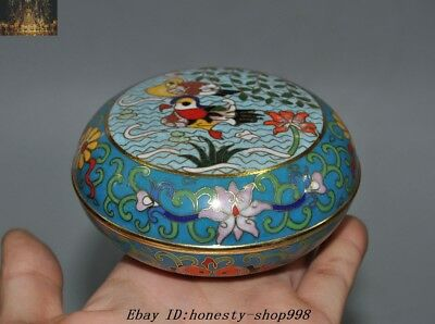 China Palace Bronze Cloisonne Enamel mandarin duck Lotus Rouge box Powder boxes