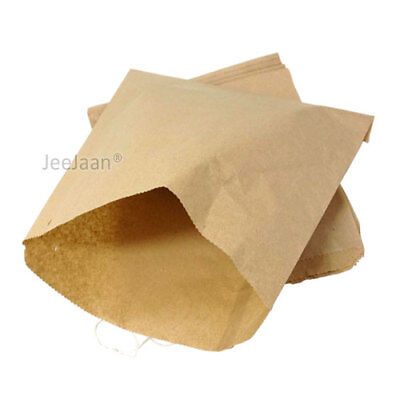 "100 Paper Food Bags Brown Kraft 10"" x 14"" Strung Sandwich Grocery Food Fruit"