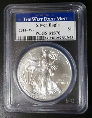 2014-W $1 American Silver Eagle 1oz Bullion Coin PCGS MS70 The West Point Mint
