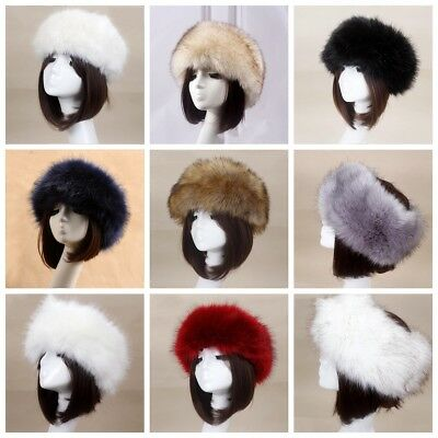Women Russian Thick Fluffy Cap Fake FAUX For Headband Has Winter Ear Warmer Ski