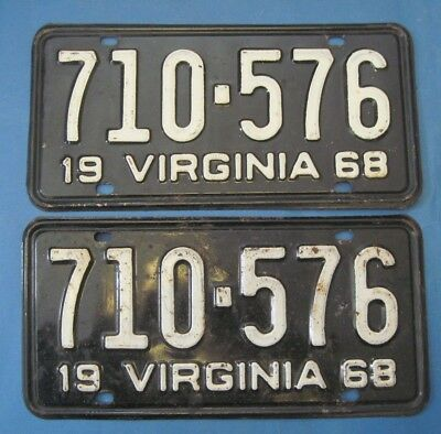 1968 Virginia License Plates Matched Pair