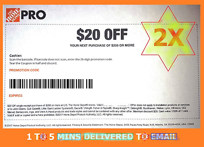 2x (TW0) Home Depot Coupon $20 Off $200 IN-STORE ONLY - 1-5mins EmaiI DeIivered