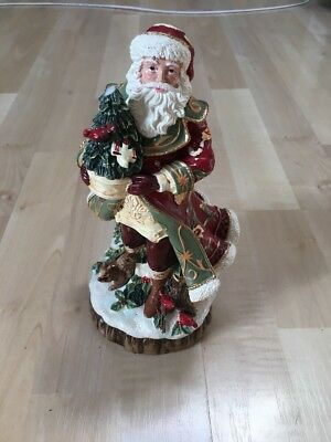 Fitz and Floyd Bellacara Santa Figurine, Hand Painted & Hand Crafted, NO TAX