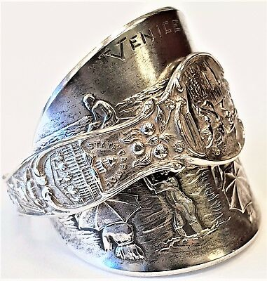 Solid silver vintage Venice California American USA spoon ring SIZE X Steampunk