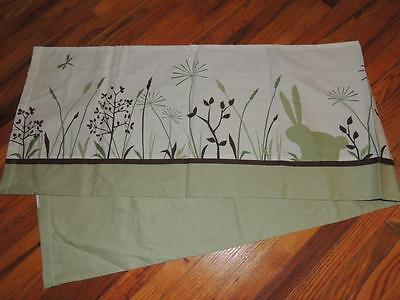"KIDSLINE BUNNY MEADOW WINDOW VALANCE Organic Cotton 14"" x 60 Green Brown"