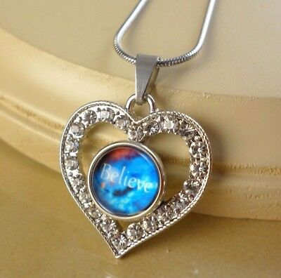 AUTISM RIBBON small snap button crystal heart pendant w// steel Necklace gifts