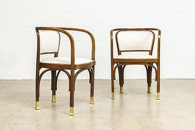 Antique Side Chairs Pair of Vienna Secessionist Gustav Siegel for Kohn Chairs