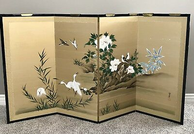 Vintage Japanese Chinese 4 Panel Folding Screen Painted 65x36 Flowers Birds