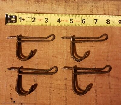Antique Lot Of 4 Twisted Wire Hangers Hooks Coat Rack Schoolhouse Vintage B