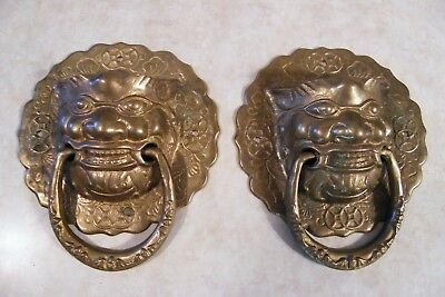 "2 Vintage Large Brass Face Head Door Knocker Oriental Chinese HEAVY - 7"" Wide"