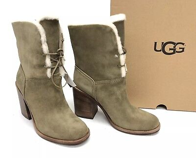 679a34e6fe6 UGG AUSTRALIA JERENE Wool Lined Lace Up Boots Antilope 1098313 Stacked Heel