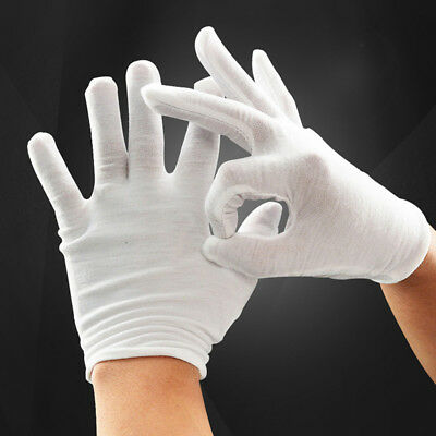 6 Pairs White Cotton Gloves for Cosmetic Moisturizing Coin Jewelry
