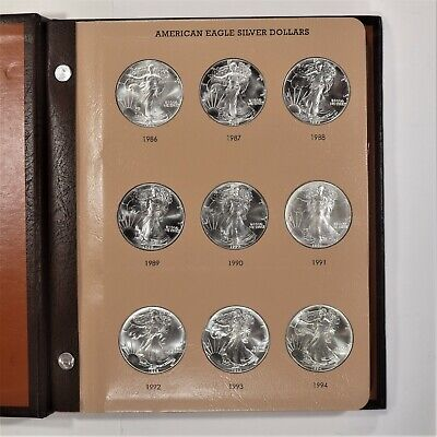 1986 - 2019 American Eagle Silver Dollar Complete Set Brilliant White Gem Coins
