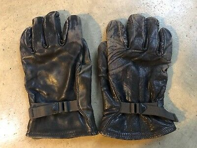 Vtg M-1949 US ARMY Military Leather Pilot Fighter Gloves Removable Liner sz 4