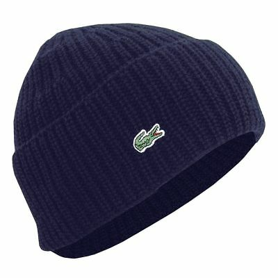 Lacoste Navy Blue Cardigan Rib Knitted Hat