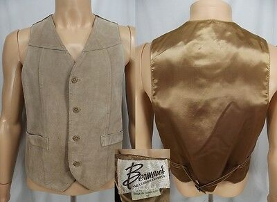 Vintage BERMAN'S tan Suede Leather Western Rancher Biker Vest L large 1970s mens