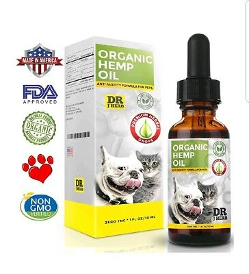 Hemp Oil Organics for Dogs and Cats Pets Stress Anxiety Pain Relief 500mg