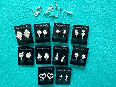 JOBLOT-10 pairs of CLIP ON crystal diamante earrings.Silver plated.UK handmade.