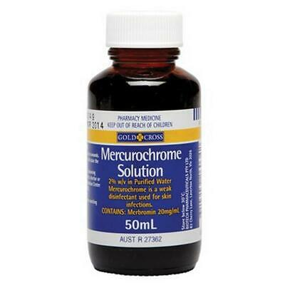 New Gold Cross Mercurochrome Solution 50mL Disinfects Skin Infections