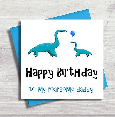 Dinosaur Birthday Card Daddy Happy For Dad Father From Son