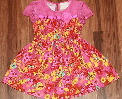 Girls - GENUINE KIDS - Spring Summer Bright Floral Lace Top Dress Pink Yellow 3T