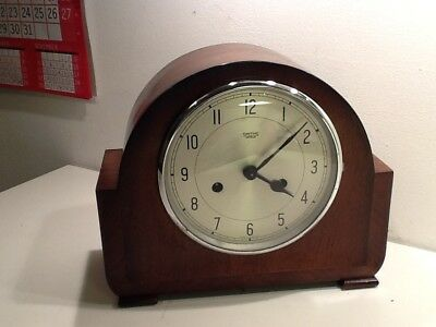 Art Deco SMITHS Oak Cased Twin Train Mantel Clock,Silvered Dial,spares or repair