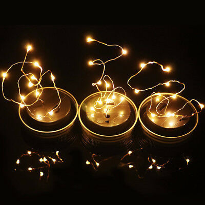 Solar Power 20 LED Mason Jar Fairy String Light Lids Insert Garden Room Decor