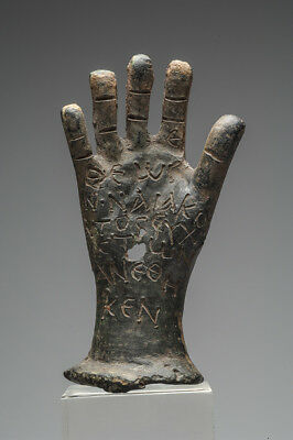ANCIENT INSCRIBED HAND BRONZE 4th-5th CENTURY AD