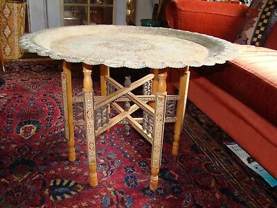 Antique Middle Eastern Persian or Egyptian Copper Tray Table Ornate wood