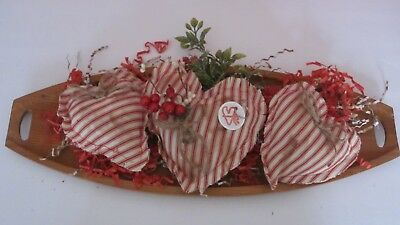 Primitive Valentine's Day Set Of 3  Red Ticking  Heart Bowl Fillers   #1