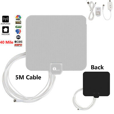 1byone Antenna 50-Miles Indoor Flat HD TV Digital Signal Amplified HDTV 4K 1080P