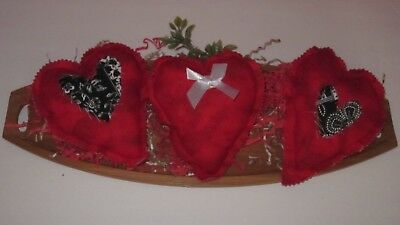 Primitive Valentine's Day Set Of 3  Red 7.5 In   Heart Bowl Fillers   #1