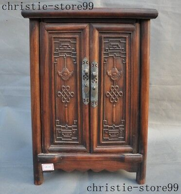 old Chinese Huanghuali Wood auspicious statue Classical Cabinet Cupboard Lockers