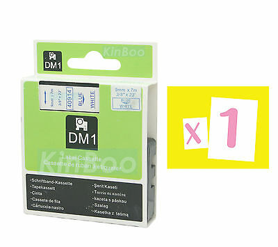 1 Pack Tape Label Compatible for DYMO D1 40914 Blue on White 9mm 7m