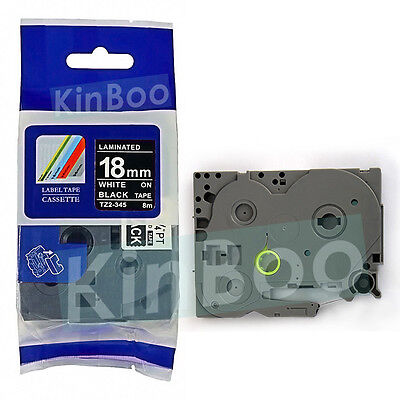 1 Pack Tape Label Compatible for Brother P-Touch TZ TZe 345 White on Black 18mm