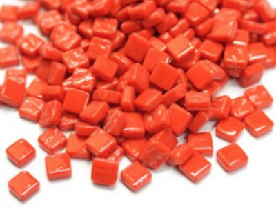 Small Bright Red 8mm Glass Mosaic Tiles for Art & Craft Supplies
