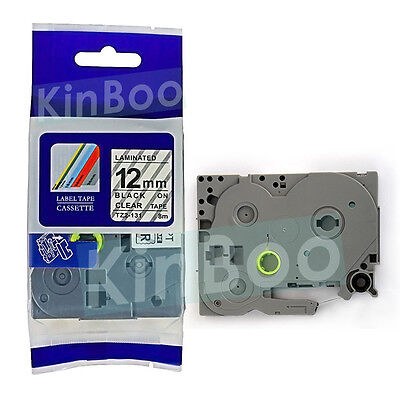 1 Pack Tape Label Compatible for Brother P-Touch TZ TZe 131 Black on Clear 12mm