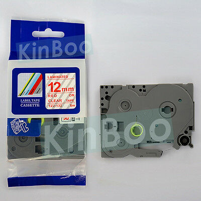 1 Pack Tape Label Compatible for Brother P-Touch TZ TZe 132 Red on Clear 12mm