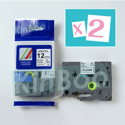 2 Pack Tape Label Compatible for Brother P-Touch TZ TZe S131 Black on Clear 12mm