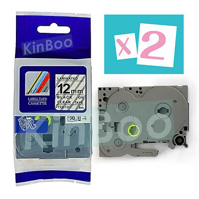 2 Pack Tape Label Compatible for Brother P-Touch TZ TZe 131 Black on Clear 12mm